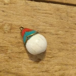 Turquoise yak bone and coral brass pendant NWOT